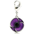 Purple Poppy Collar Charm
